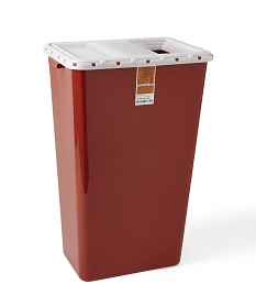 Sharps Containers, Red, Sliding Lid, 18 gal.