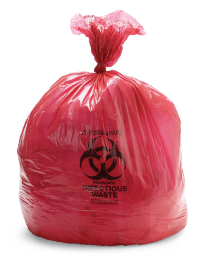 Medline Low Density Biohazard Liners, 33 gal., 1.2 Mil, 31'' x43''