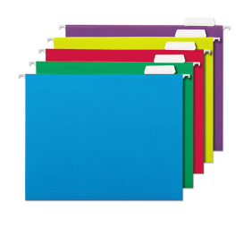 Deluxe Bright Color Hanging File Folders, Letter Size, 1/5-Cut Tab, Assorted, 25/Box