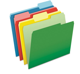 CutLess File Folders, 1/3-Cut Tabs, Letter Size, Assorted, 100/Box