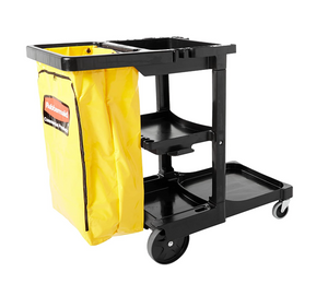 Rubbermaid Commercial Traditional Janitorial 3-Shelf Cart, Wheeled with Zippered Yellow Vinyl Bag, Black