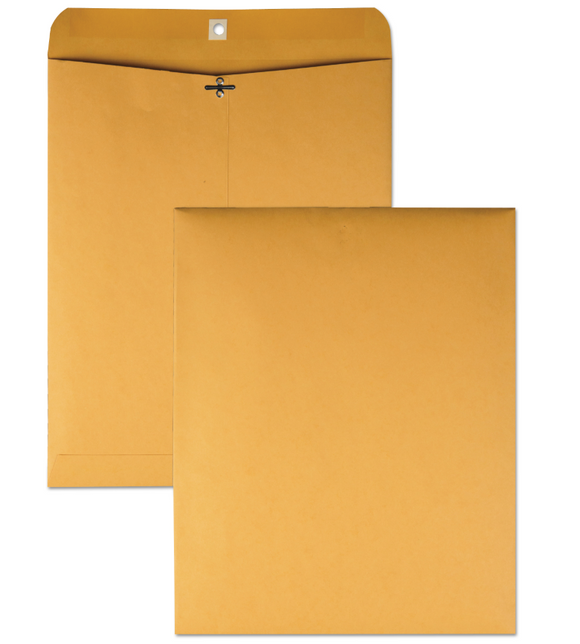 Clasp Envelope, #14 1/2, Cheese Blade Flap, Clasp/Gummed Closure, 11.5 x 14.5, Brown Kraft, 100/Box