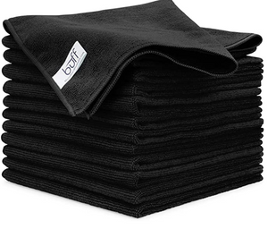 "Buff™ Microfiber Cleaning Cloth | Black (12 Pack) | Size 16"" x 16"" 