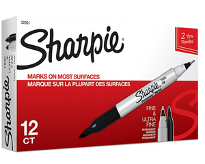 SHARPIE Permanent Markers, Fine and Ultra Fine Point 12/PK