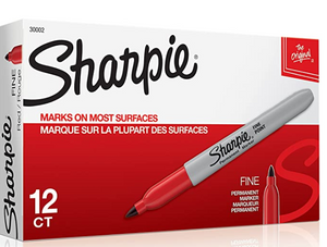 SHARPIE Permanent Markers, Fine Point- Red 12/PK
