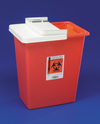 Sharps Container with Hinged Lid, Red, 8 gal.- 10/Case