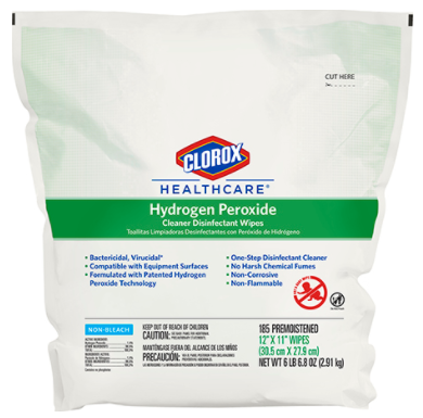 Clorox Healthcare Hydrogen Peroxide  Disinfectant Wipes - 185 Count-CLO30827EA