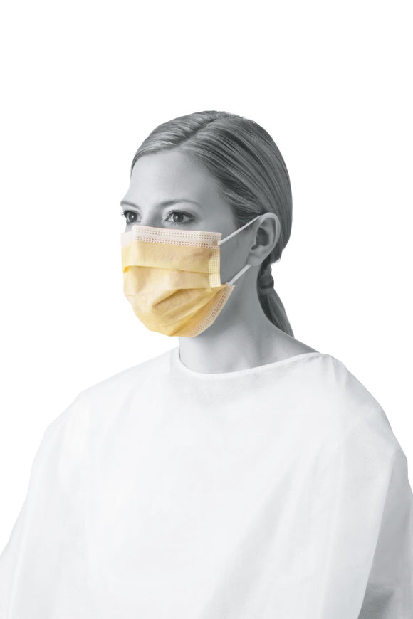 Mask, Face: Procedure Face Mask with Ear Loops, Yellow