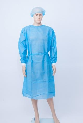 Isolation Gown, Disposable; Blue, with elastic cuff
