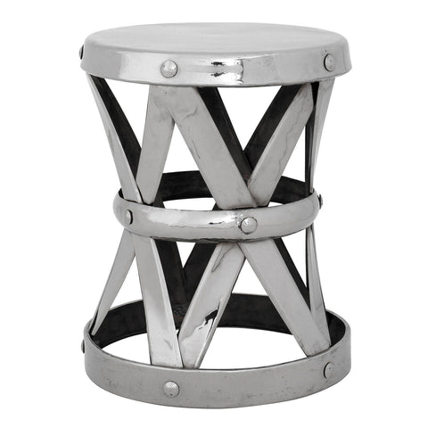Polished Nickel Drum Stool - Casey & Company Bespoke Design