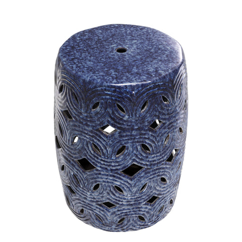 Blue Ceramic Drum Table - Casey & Company Bespoke Design