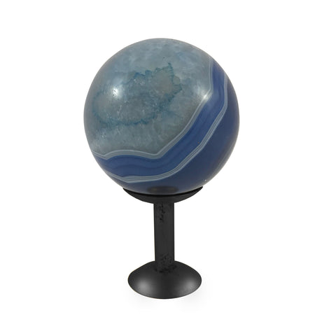 Nuno Agate Sphere On Stand, Blue - Casey & Company Bespoke Design