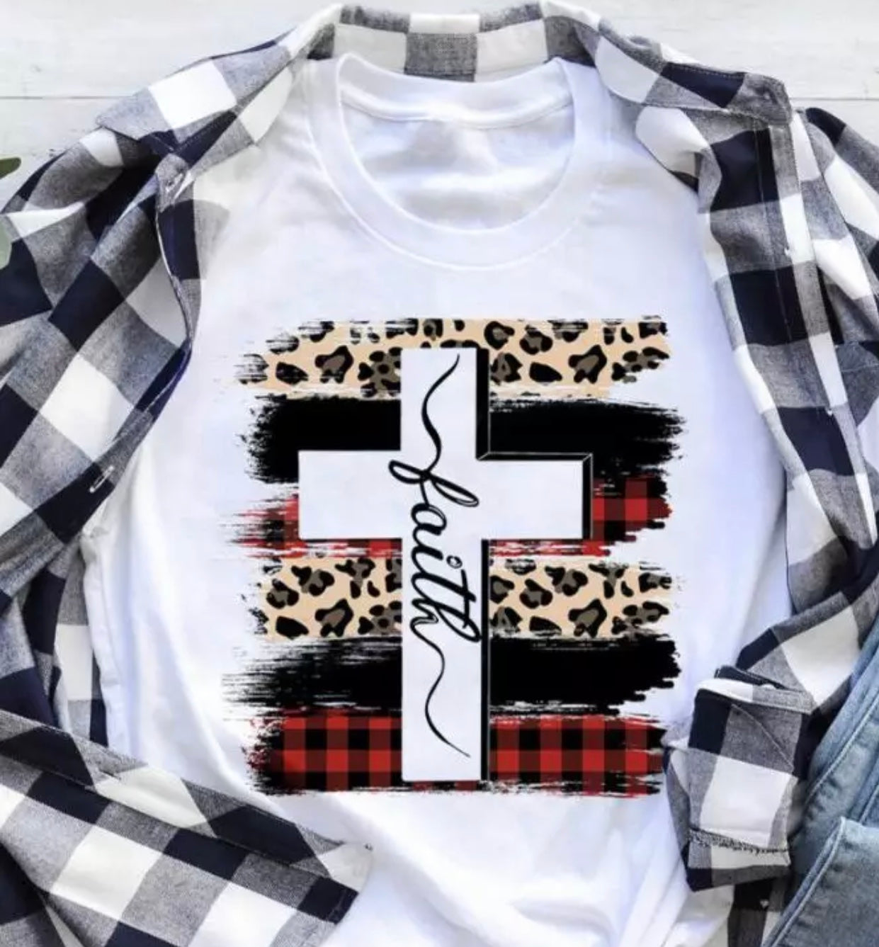 Ecomodbox SMALL Cotton Tee - Faith Cross Plaid Leopard Printed T-Shirt
