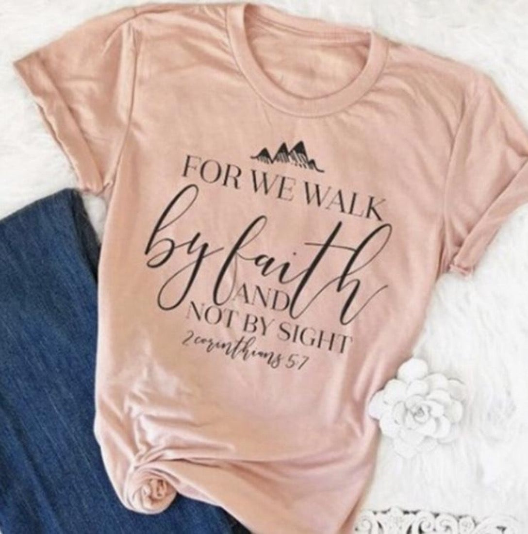 Ecomodbox LARGE Cotton Faith Tee - For we walk by faith and not by sight
