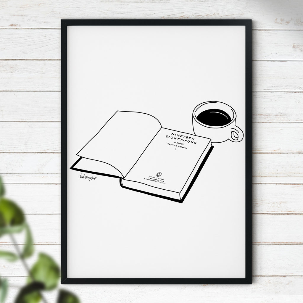 Coffee & Book Time - Wall Art | Book Art | Coffee Print | Modern Wall Art | Coffee Time