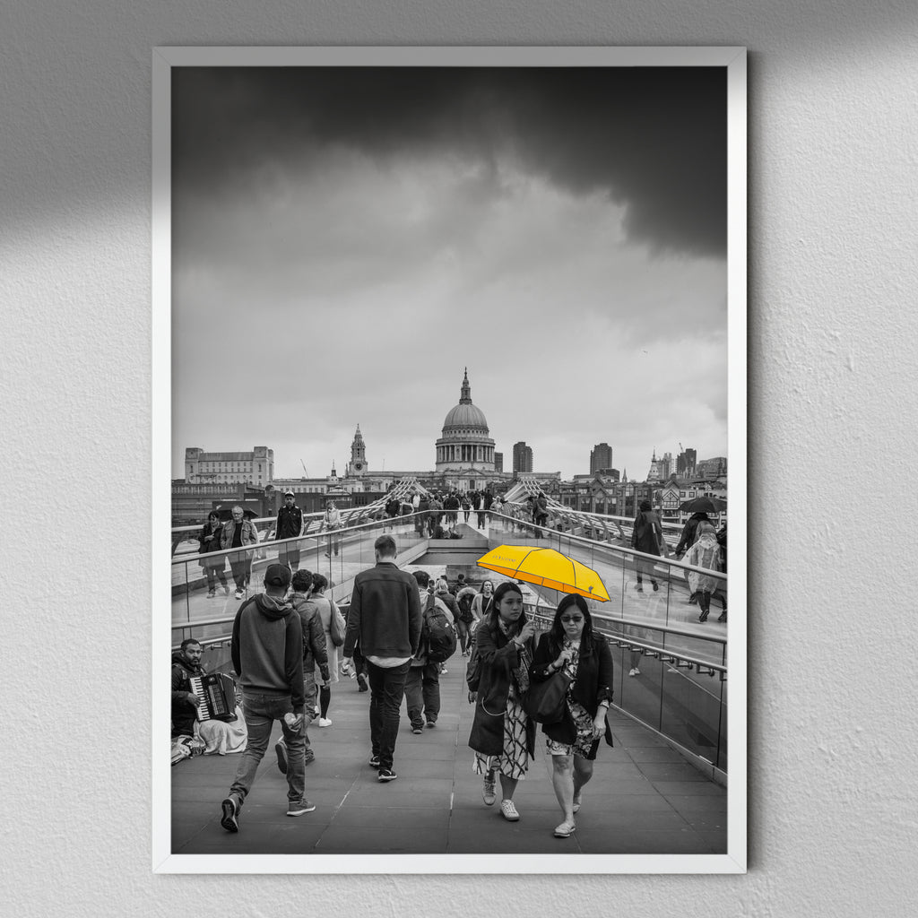 Umbrella On The Bridge - Modern Photography | Modern Wall Art | Yellow | Black & White