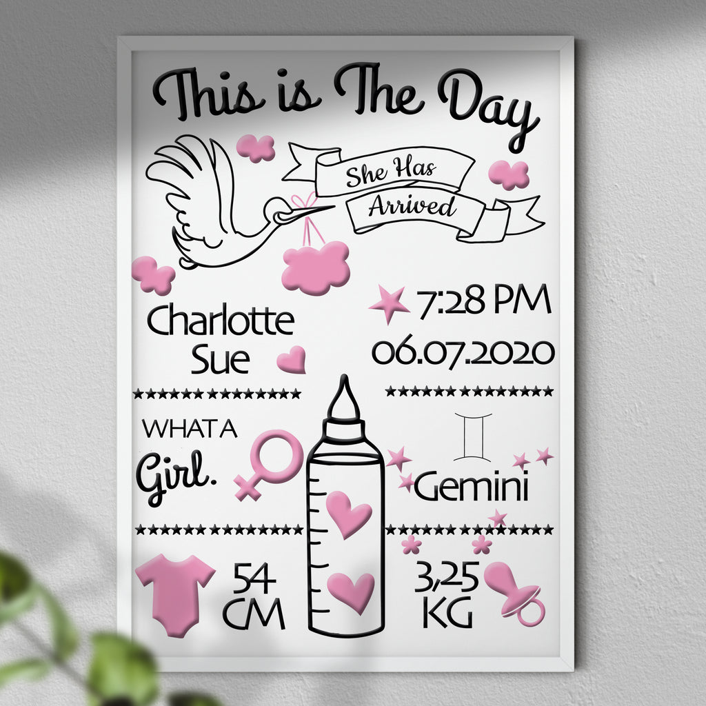 The Day She/He Has Arrived - Customised New Born Typography Print | Save Memories Of The Newborn