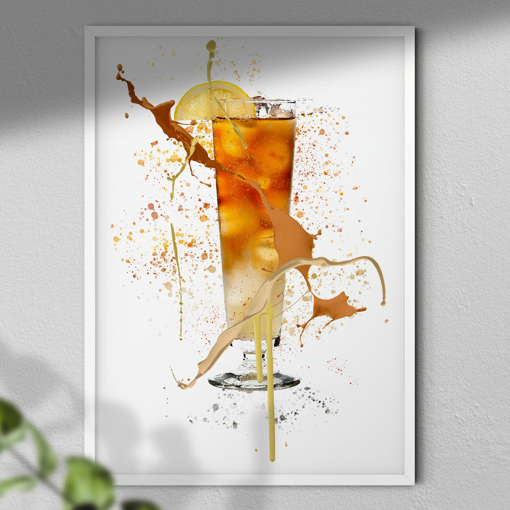 Long Island Iced Tea - Cocktail Wall Art Print | Dining Bar | Paint Splash | Home Decor
