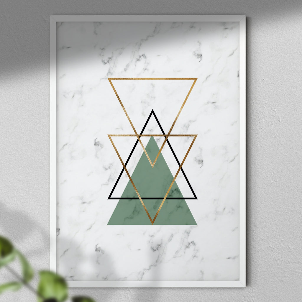 Abstract Print - Art Print | Home Decor | Triangles | Marble Pattern | Modern Wall Decor