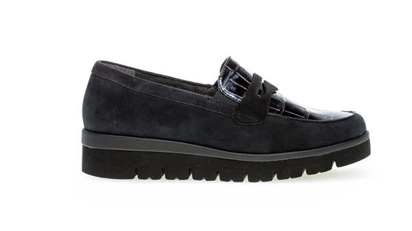 Gabor Boston -Wedge Moccasin Blue, Wide Fit