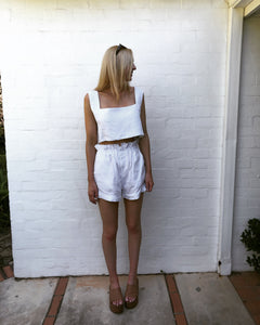 SALE - POSSE White Linen Short Set