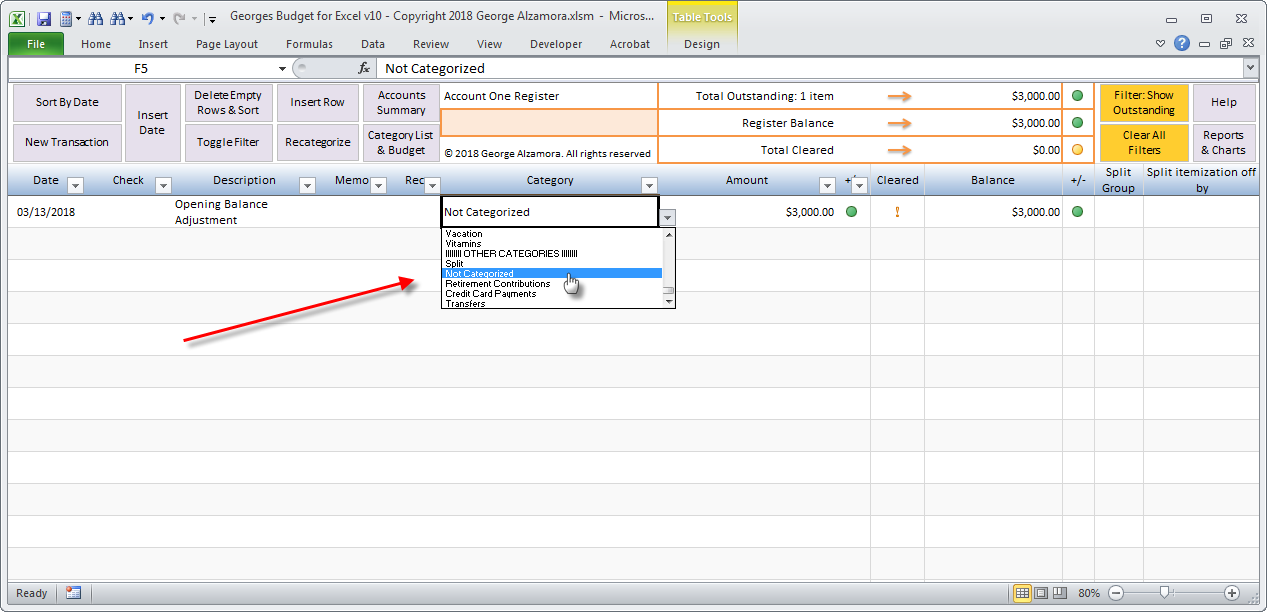 how to enter opening balance in the excel checkbook account