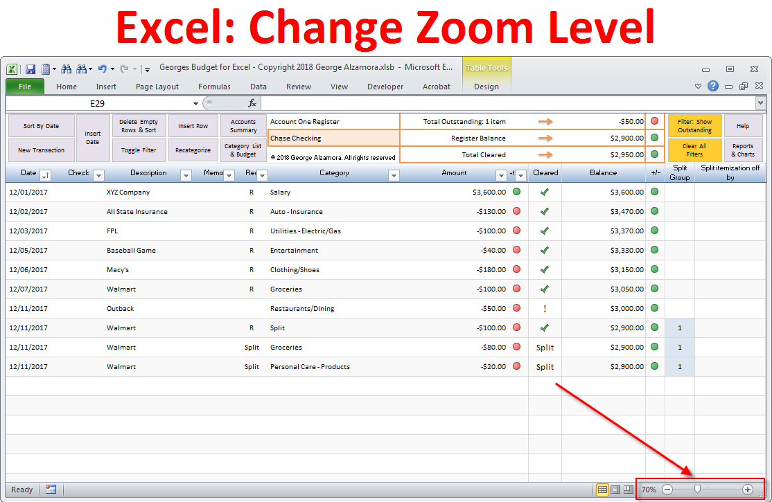 Change zoom in out level excel worksheet