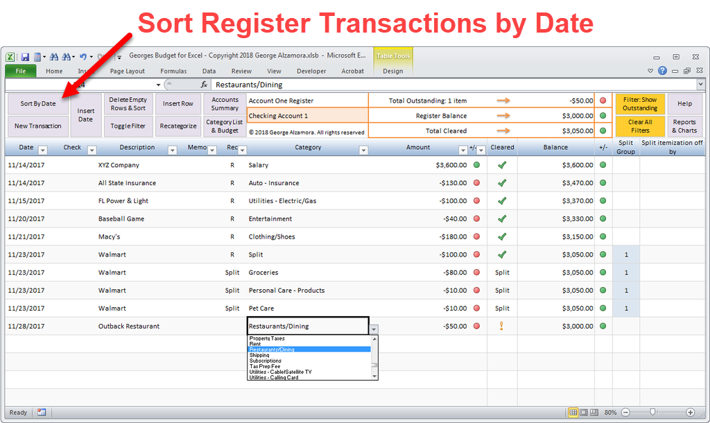 Checkbook app sort transactions by date