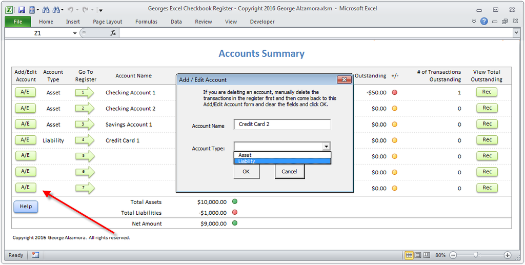 Checkbook Spreadsheet Software Delete Account