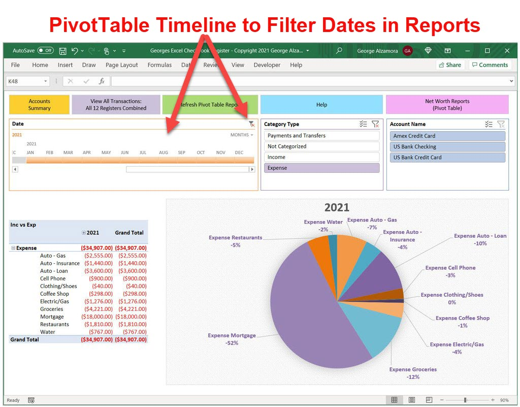 Create PivotTable timeline filter time periods in reports