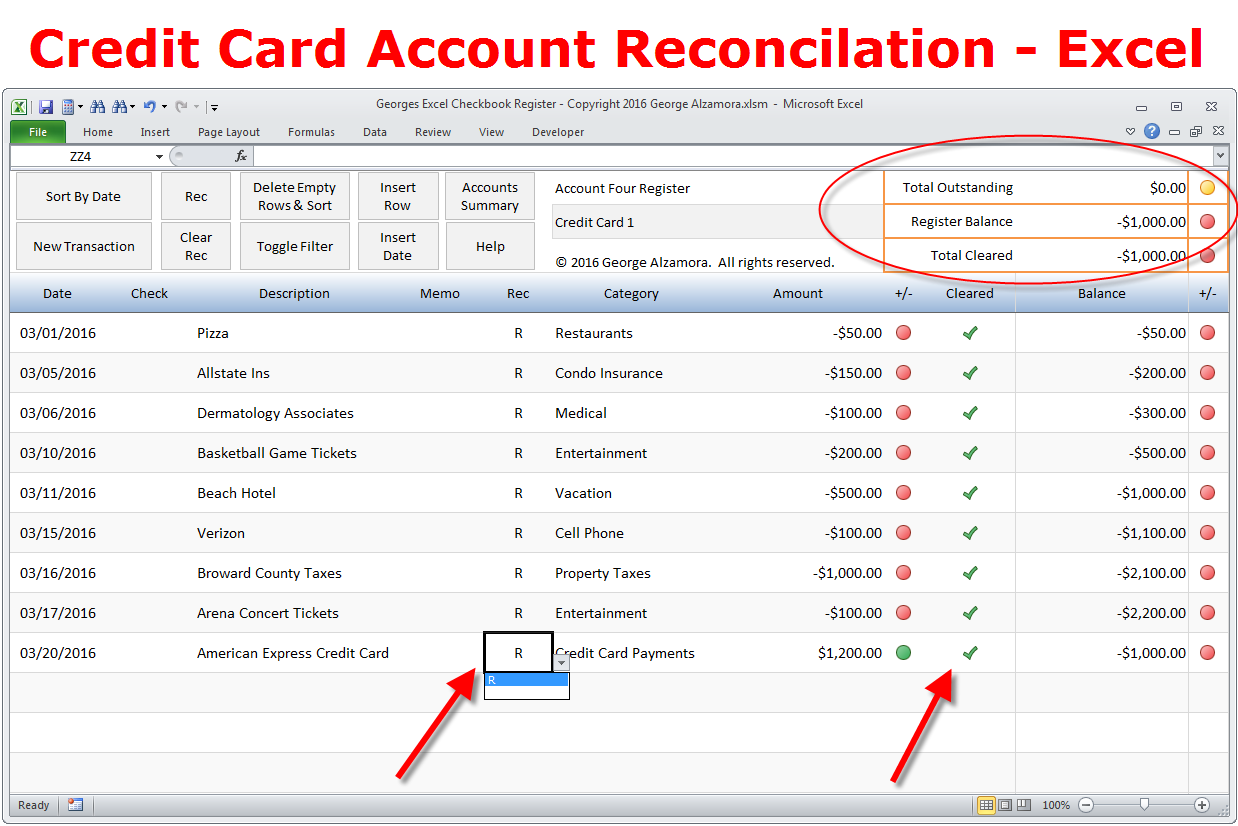 how to reconcile credit card account in excel checkbook