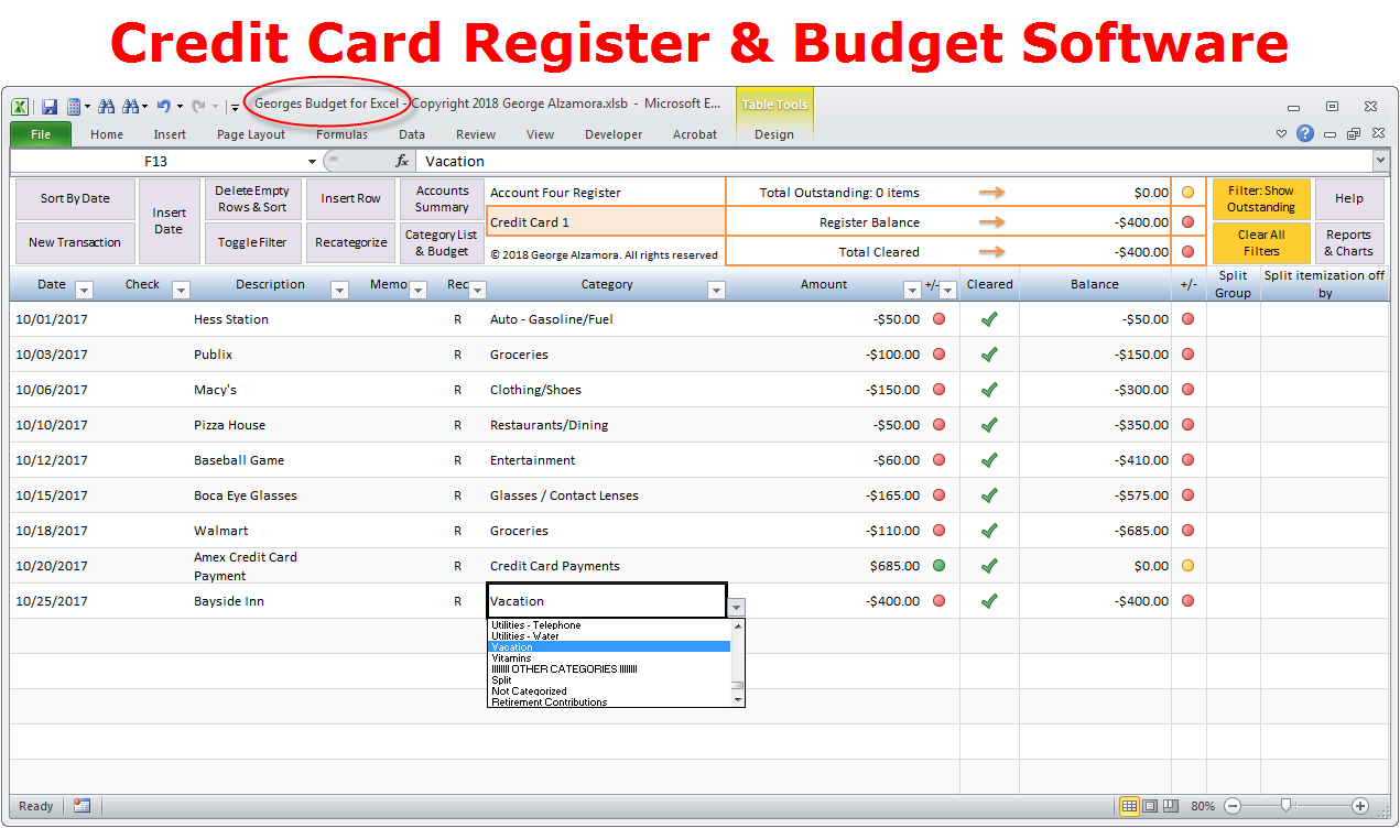 Enter Credit Card Account Transactions Excel Register