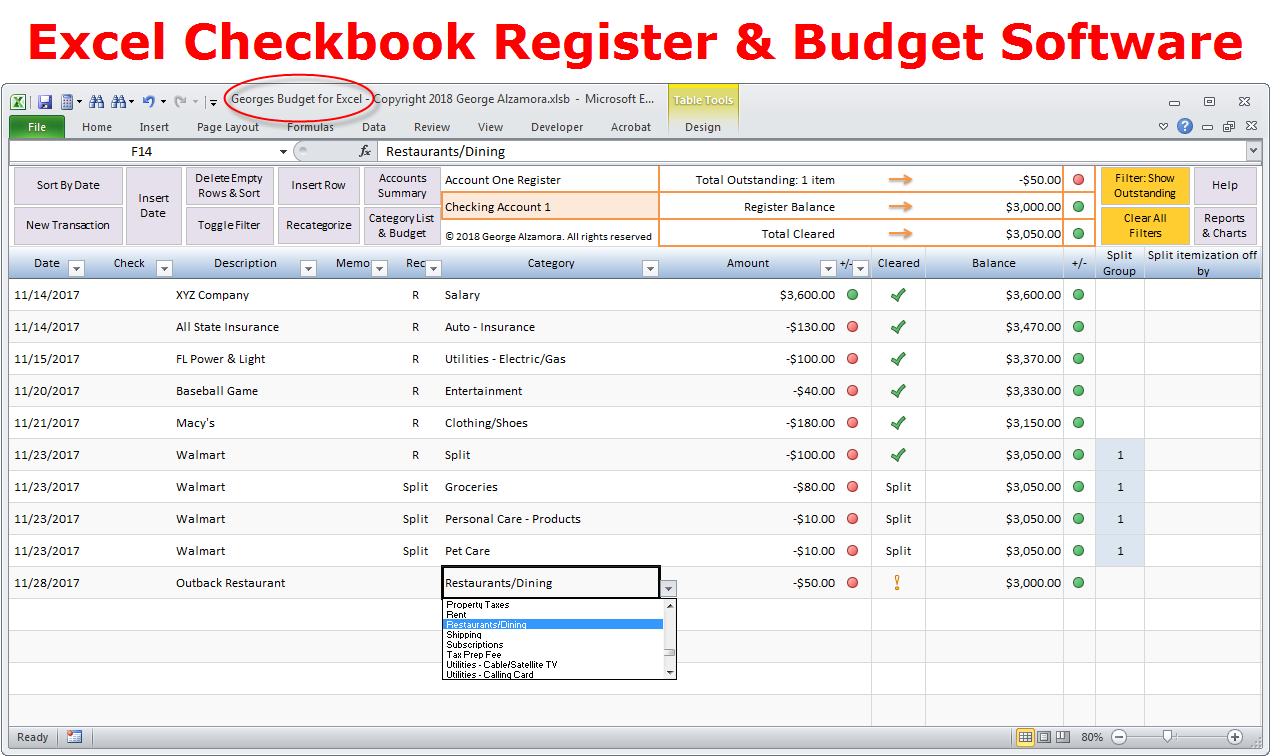Enter transactions in register Excel checkbook software