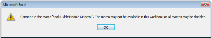 Excel cannot run macros disabled message