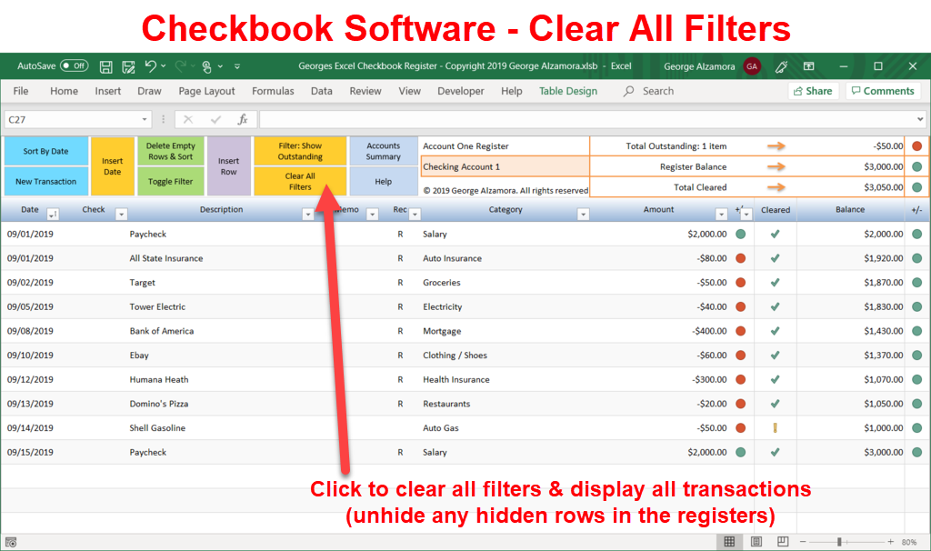 Excel checkbook software - clear all filters