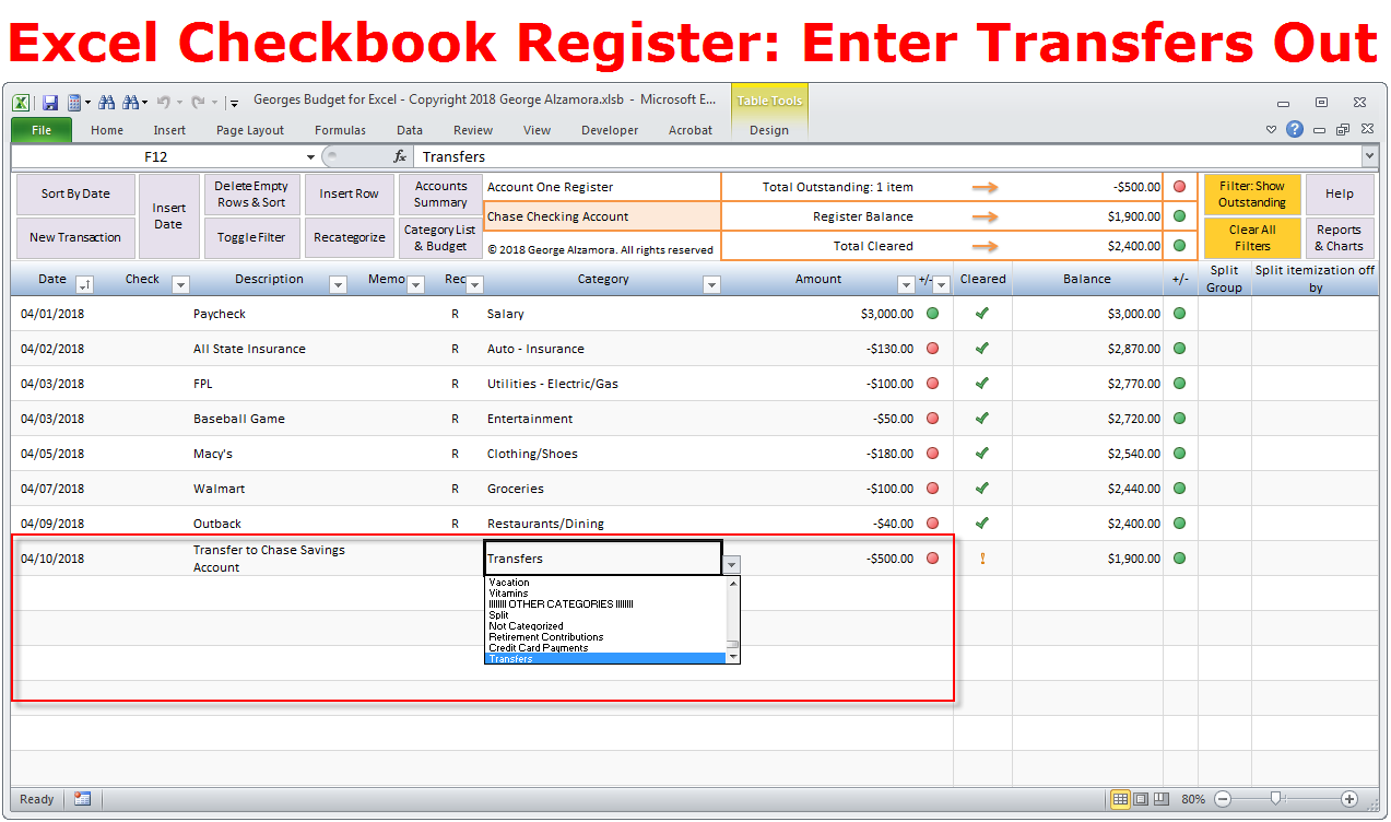 Excel Checkbook Software Transfers Between Accounts