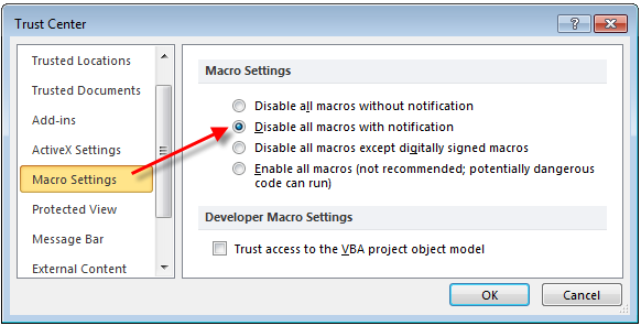 Excel disable all macros with notification