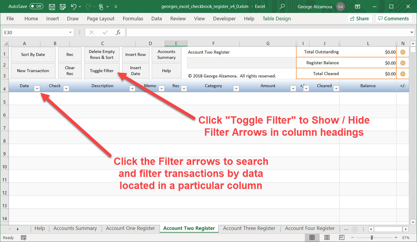 Excel: How to filter register transactions