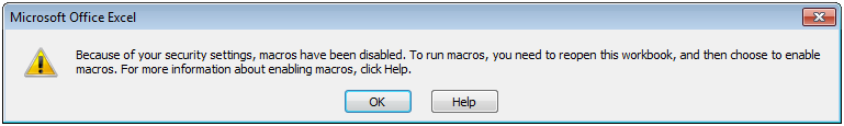 Excel macros disabled message