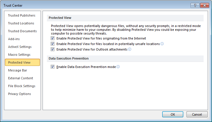 Microsoft Excel protected view enable disable settings