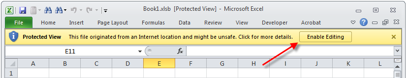 Excel protected view enable editing