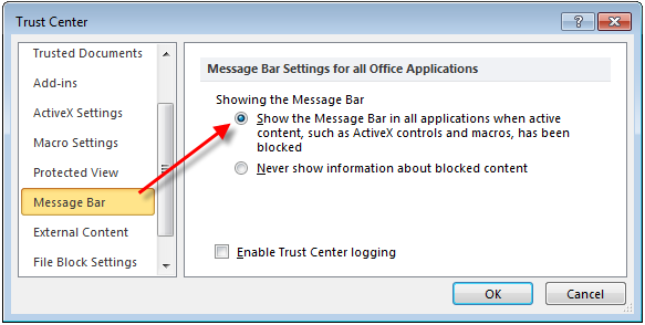 Excel show message bar when macros blocked