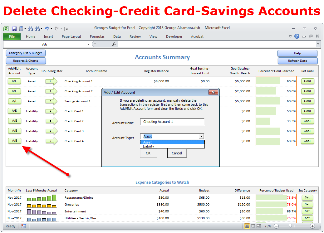 Delete Checking Credit Card Savings Accounts to Budget Spreadsheet
