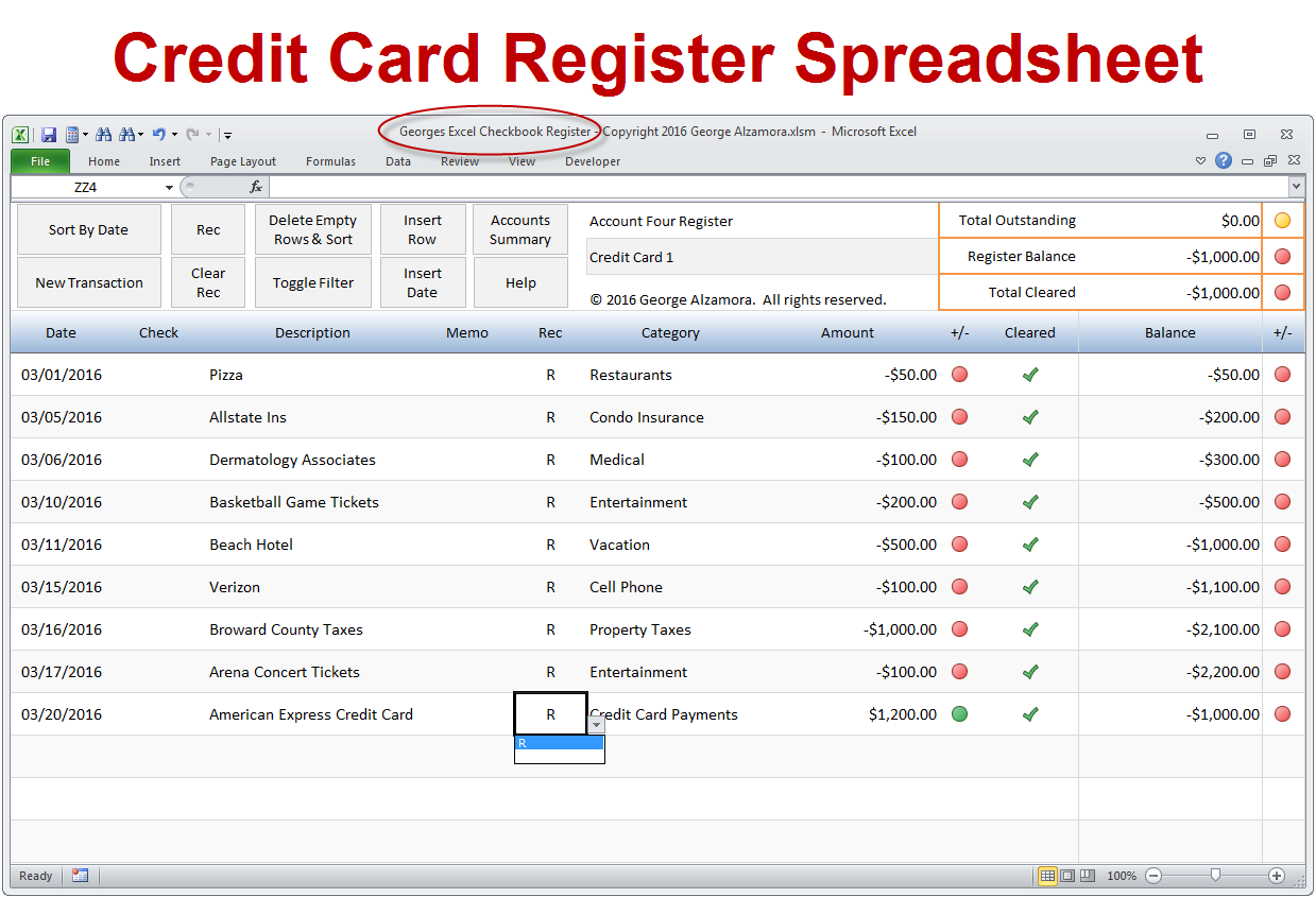 How To Enter Credit Card Transactions Excel Checkbook Software