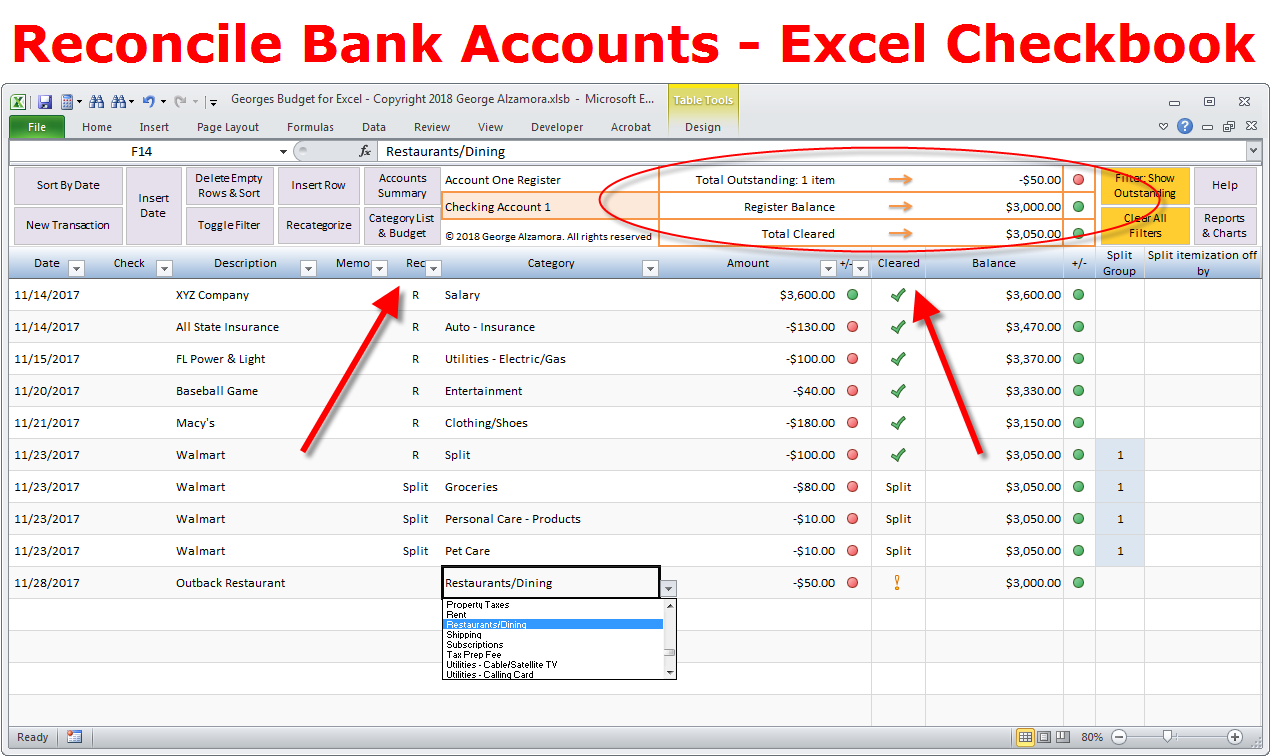 how to reconcile bank account and balance checkbook
