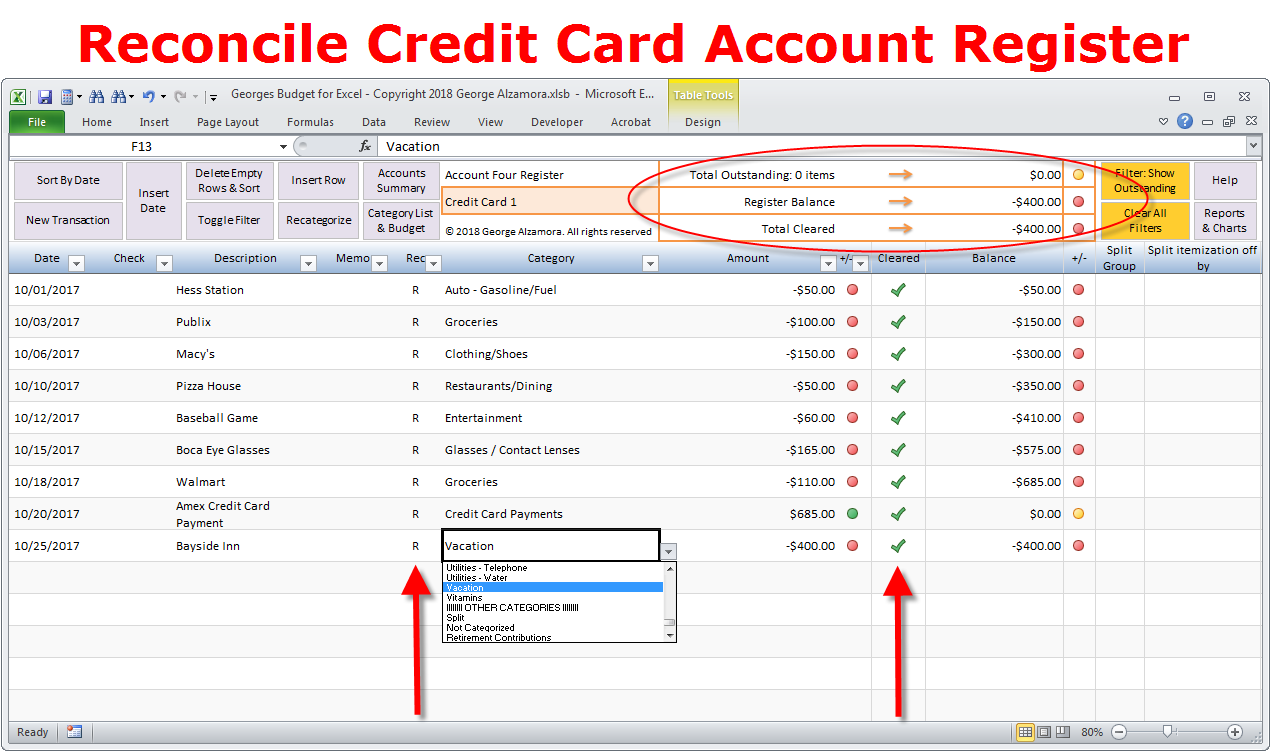 How to reconcile credit card account