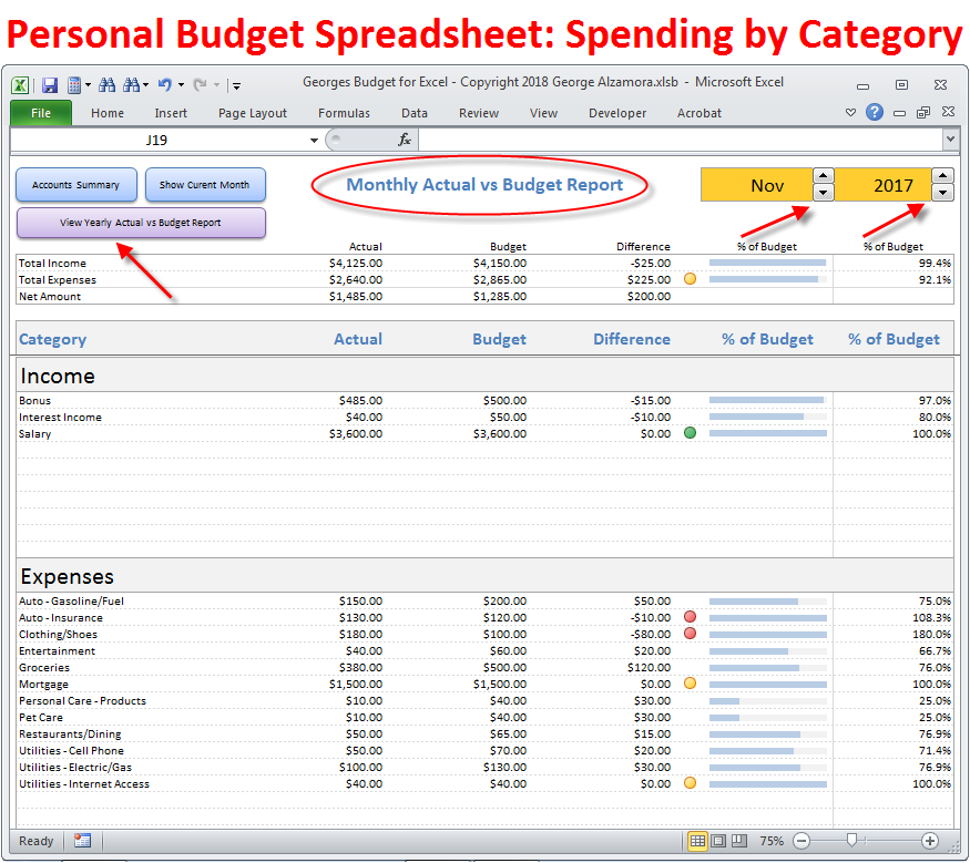 Monthly Spending By Category Budget Spreadsheet