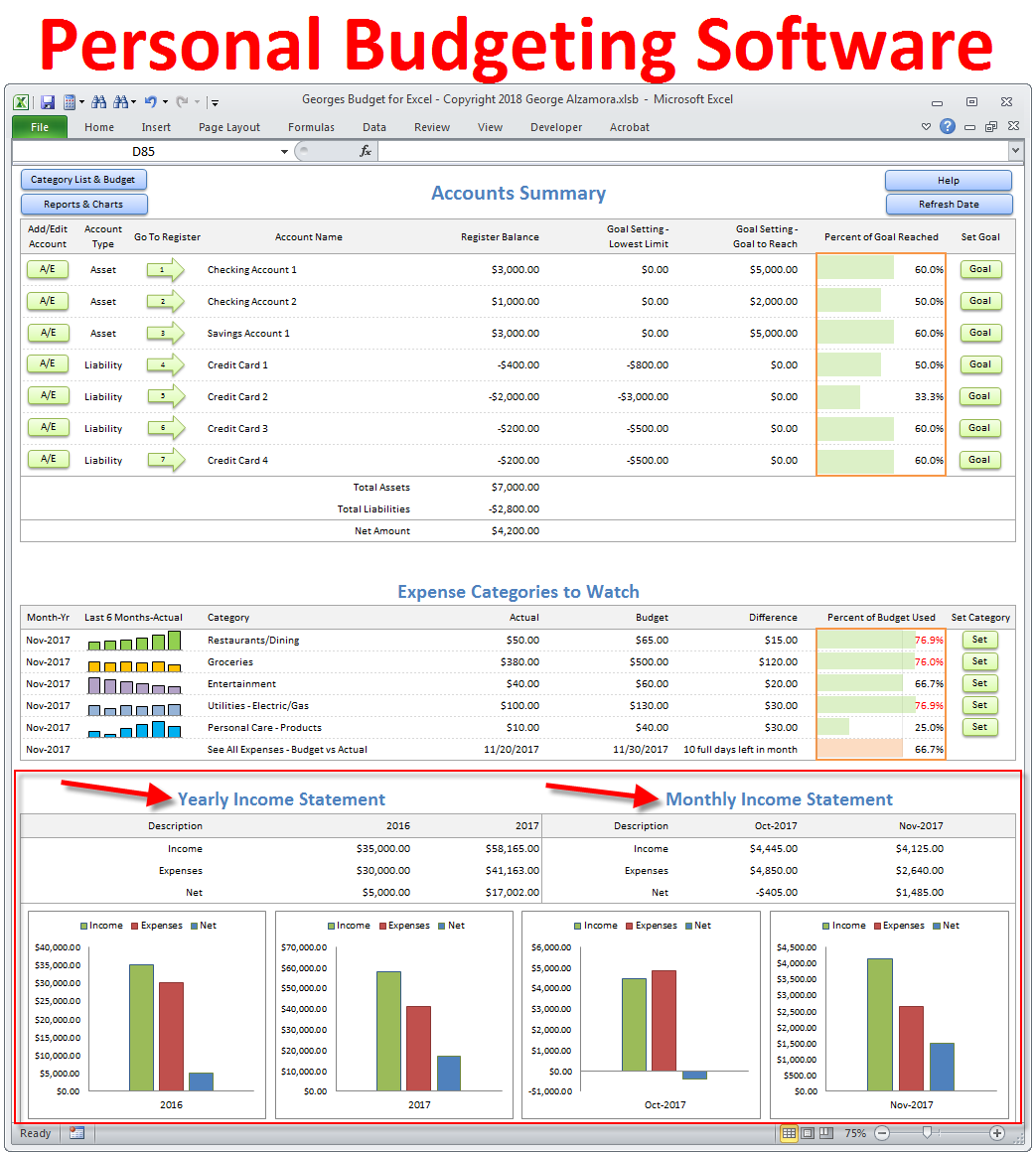 personal budget software apps income vs expenses report