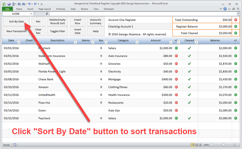 How to sort checkbook register transactions by date