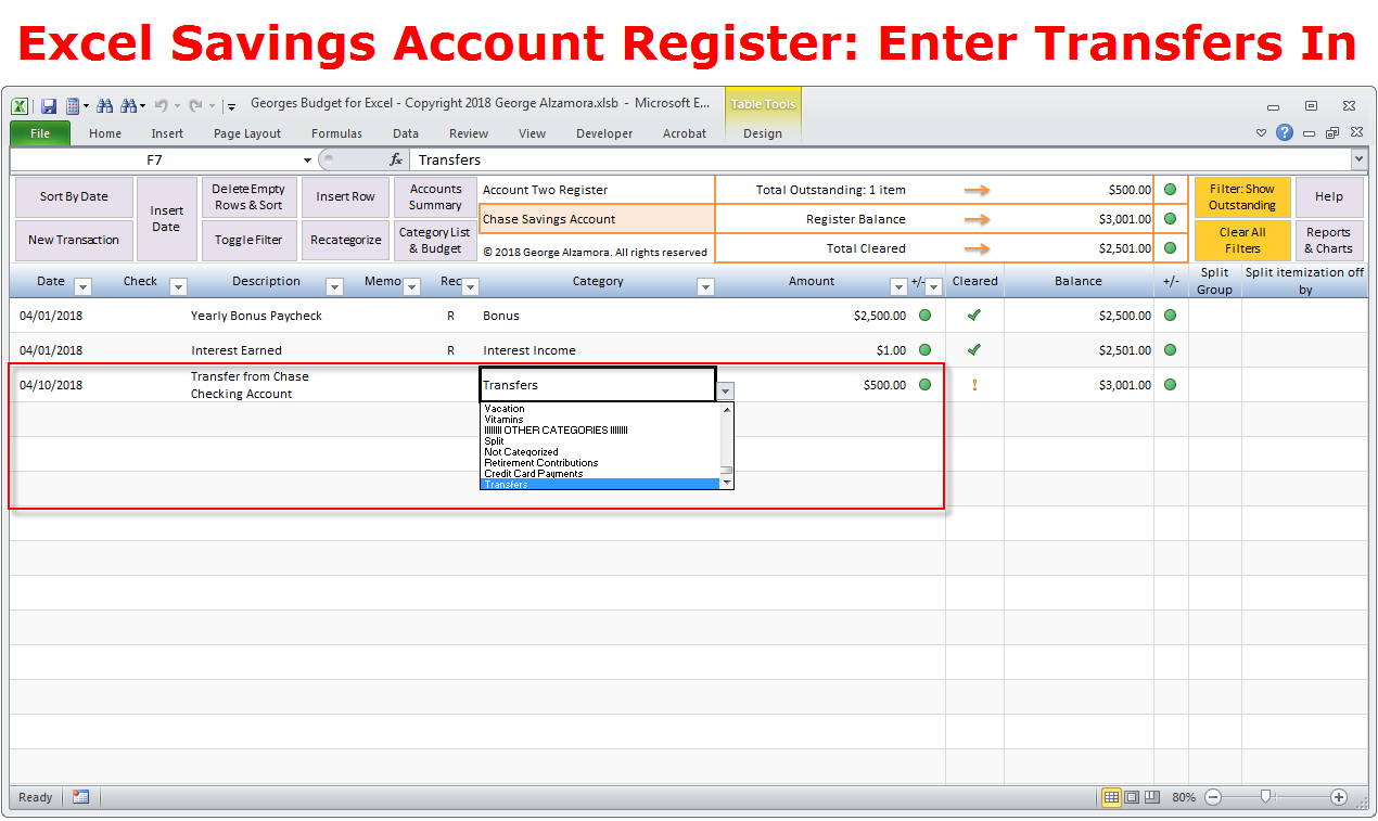 Transfer money between accounts in excel checkbook register